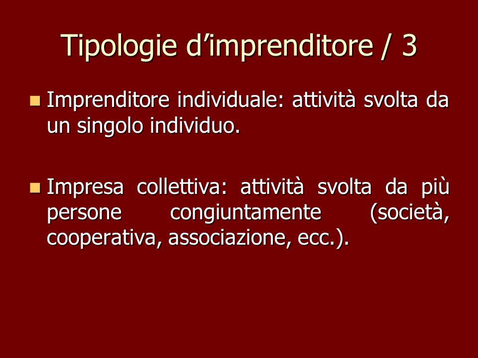 Tipologie dimprenditore / 3 Imprenditore individuale: attività svolta da un singolo individuo. Imprenditore individuale: attività svolta da un singolo