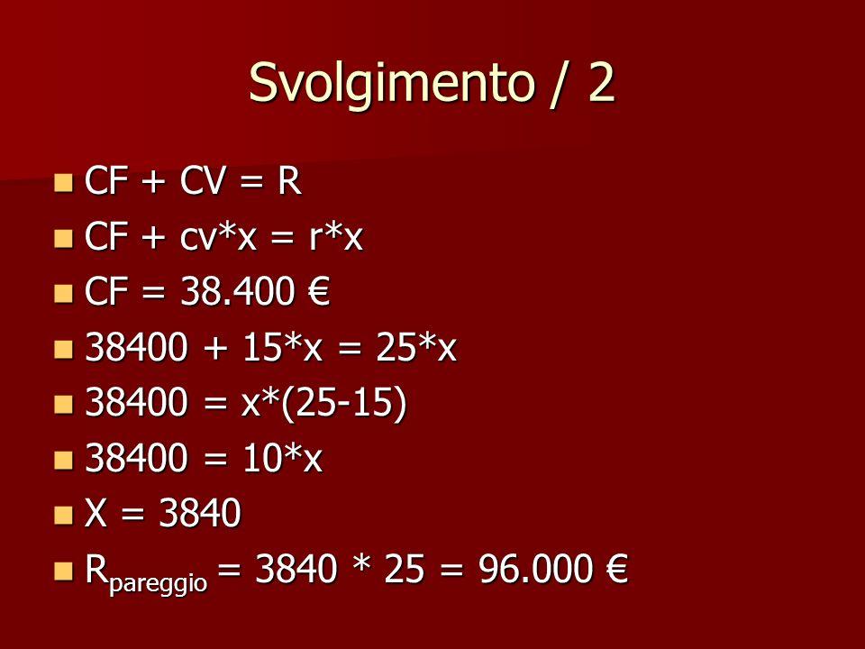 Svolgimento / 2 CF + CV = R CF + CV = R CF + cv*x = r*x CF + cv*x = r*x CF = 38.400 CF = 38.400 38400 + 15*x = 25*x 38400 + 15*x = 25*x 38400 = x*(25-