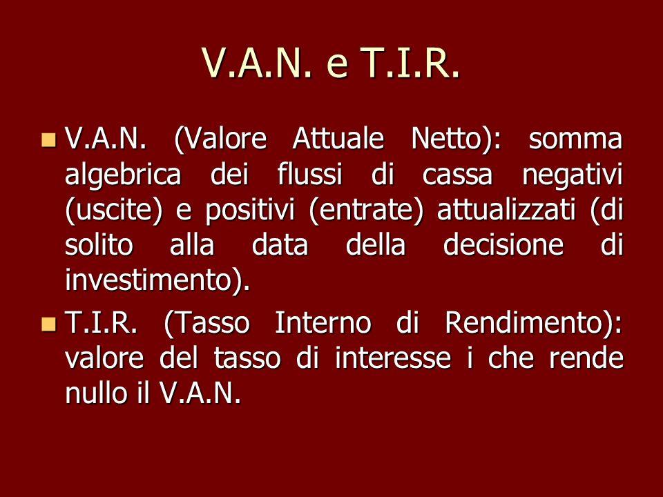 V.A.N. e T.I.R. V.A.N. (Valore Attuale Netto): somma algebrica dei flussi di cassa negativi (uscite) e positivi (entrate) attualizzati (di solito alla