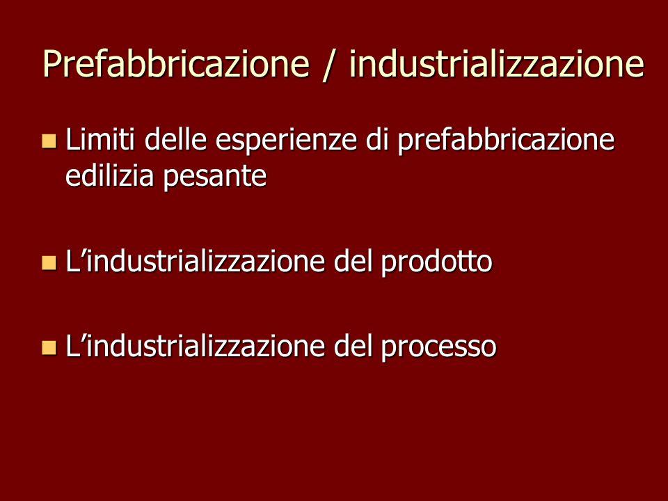 Prefabbricazione / industrializzazione Limiti delle esperienze di prefabbricazione edilizia pesante Limiti delle esperienze di prefabbricazione ediliz