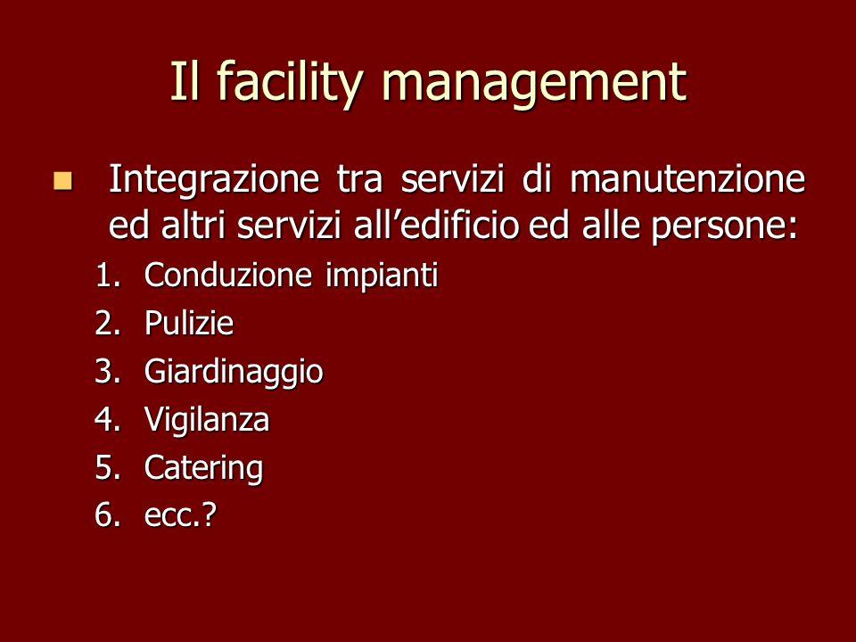 Il facility management Integrazione tra servizi di manutenzione ed altri servizi alledificio ed alle persone: Integrazione tra servizi di manutenzione