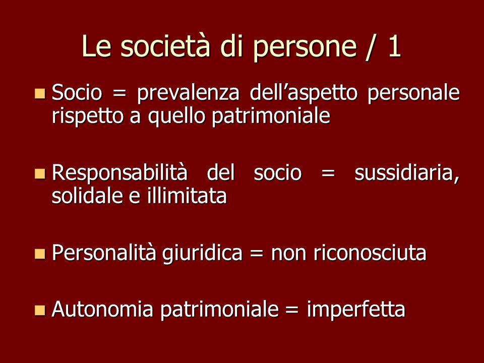Le società di persone / 1 Socio = prevalenza dellaspetto personale rispetto a quello patrimoniale Socio = prevalenza dellaspetto personale rispetto a