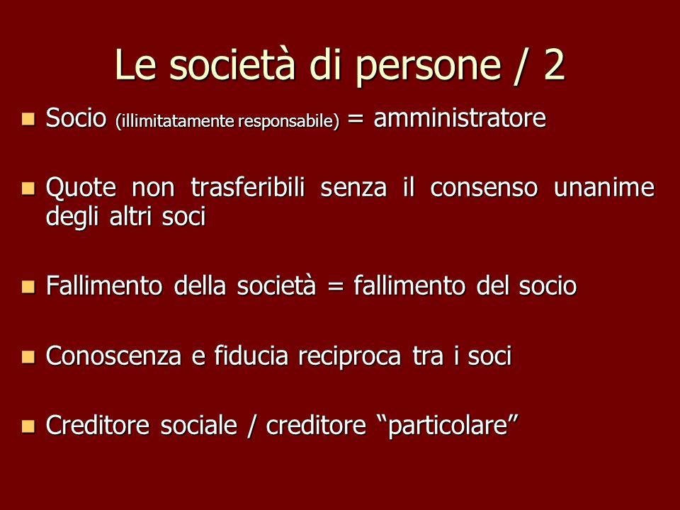 Le società di persone / 2 Socio (illimitatamente responsabile) = amministratore Socio (illimitatamente responsabile) = amministratore Quote non trasfe