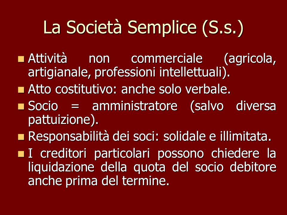 La Società Semplice (S.s.) Attività non commerciale (agricola, artigianale, professioni intellettuali). Attività non commerciale (agricola, artigianal