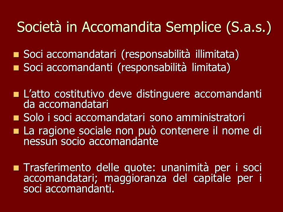 Società in Accomandita Semplice (S.a.s.) Soci accomandatari (responsabilità illimitata) Soci accomandatari (responsabilità illimitata) Soci accomandan
