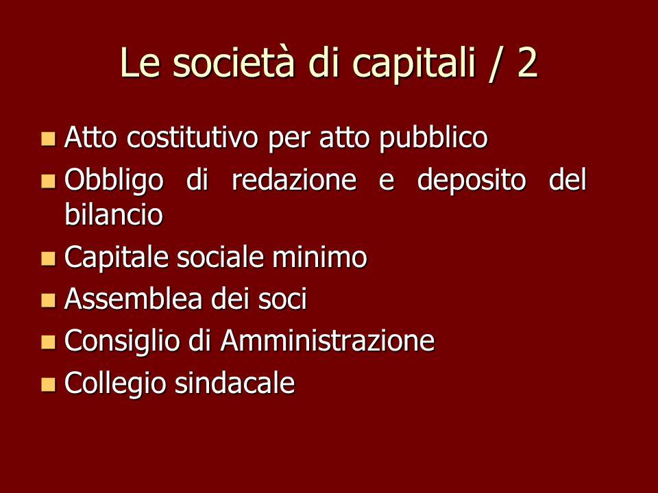 Le società di capitali / 2 Atto costitutivo per atto pubblico Atto costitutivo per atto pubblico Obbligo di redazione e deposito del bilancio Obbligo