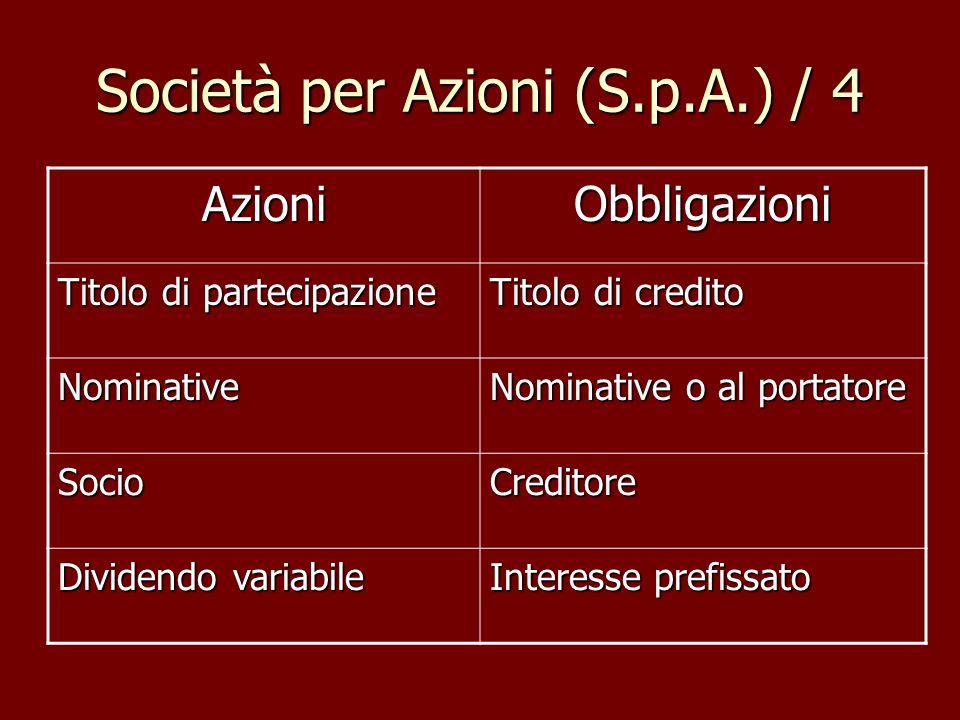 Società per Azioni (S.p.A.) / 4 AzioniObbligazioni Titolo di partecipazione Titolo di credito Nominative Nominative o al portatore SocioCreditore Divi