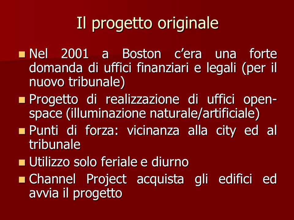 Il progetto originale Nel 2001 a Boston cera una forte domanda di uffici finanziari e legali (per il nuovo tribunale) Nel 2001 a Boston cera una forte