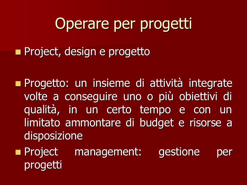 Operare per progetti Project, design e progetto Project, design e progetto Progetto: un insieme di attività integrate volte a conseguire uno o più obi