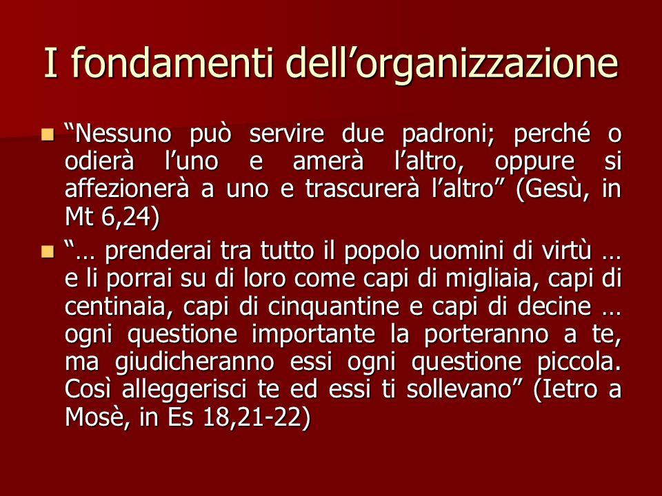 I fondamenti dellorganizzazione Nessuno può servire due padroni; perché o odierà luno e amerà laltro, oppure si affezionerà a uno e trascurerà laltro