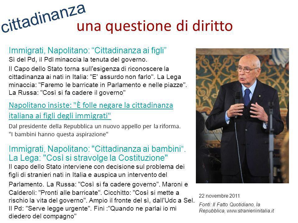 Immigrati, Napolitano: Cittadinanza ai figli Sì del Pd, il Pdl minaccia la tenuta del governo. Il Capo dello Stato torna sull'esigenza di riconoscere