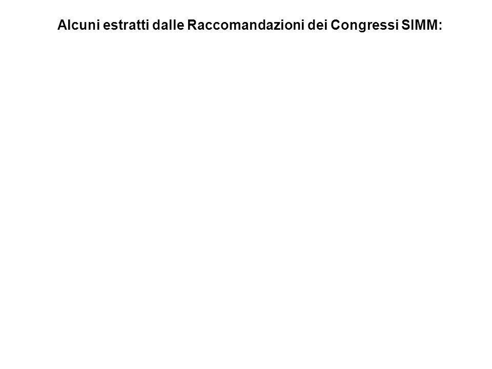 Alcuni estratti dalle Raccomandazioni dei Congressi SIMM: