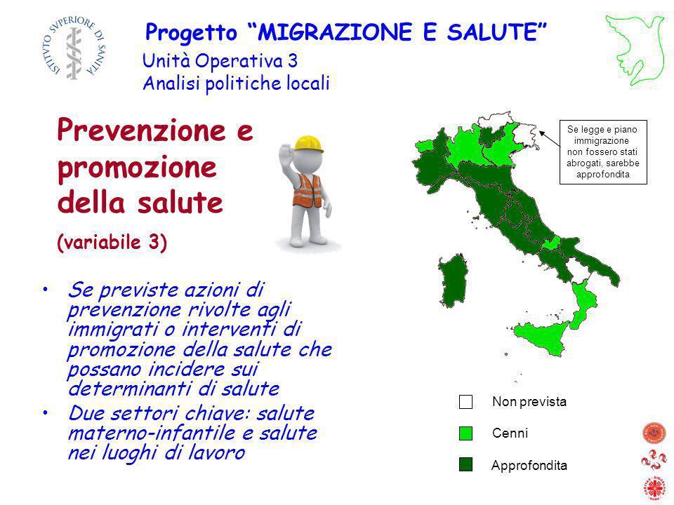 Prevenzione e promozione della salute (variabile 3) Se previste azioni di prevenzione rivolte agli immigrati o interventi di promozione della salute c