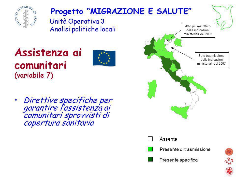 Direttive specifiche per garantire lassistenza ai comunitari sprovvisti di copertura sanitaria Assistenza ai comunitari (variabile 7) Progetto MIGRAZI