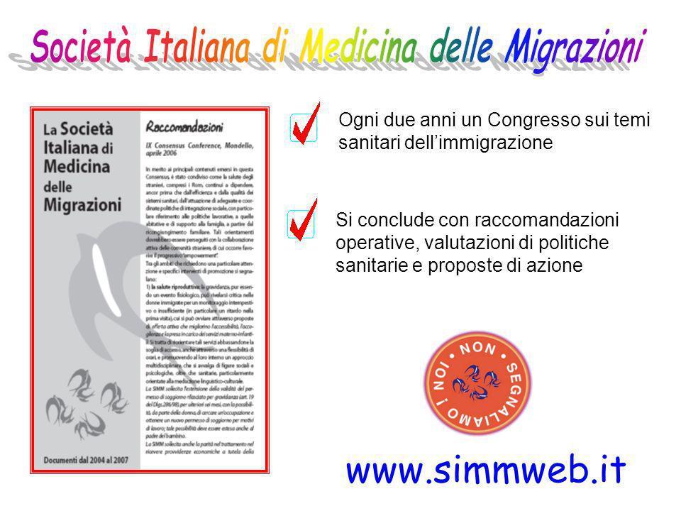 Ogni due anni un Congresso sui temi sanitari dellimmigrazione Si conclude con raccomandazioni operative, valutazioni di politiche sanitarie e proposte