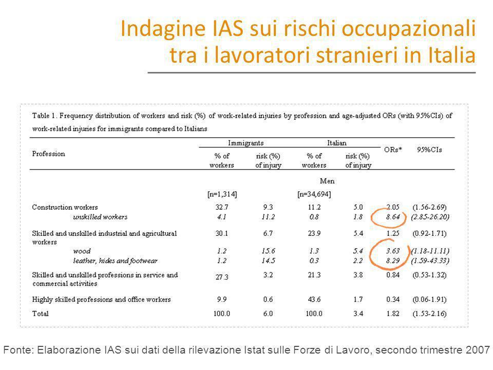 Fonte: Elaborazione IAS sui dati della rilevazione Istat sulle Forze di Lavoro, secondo trimestre 2007 Indagine IAS sui rischi occupazionali tra i lav