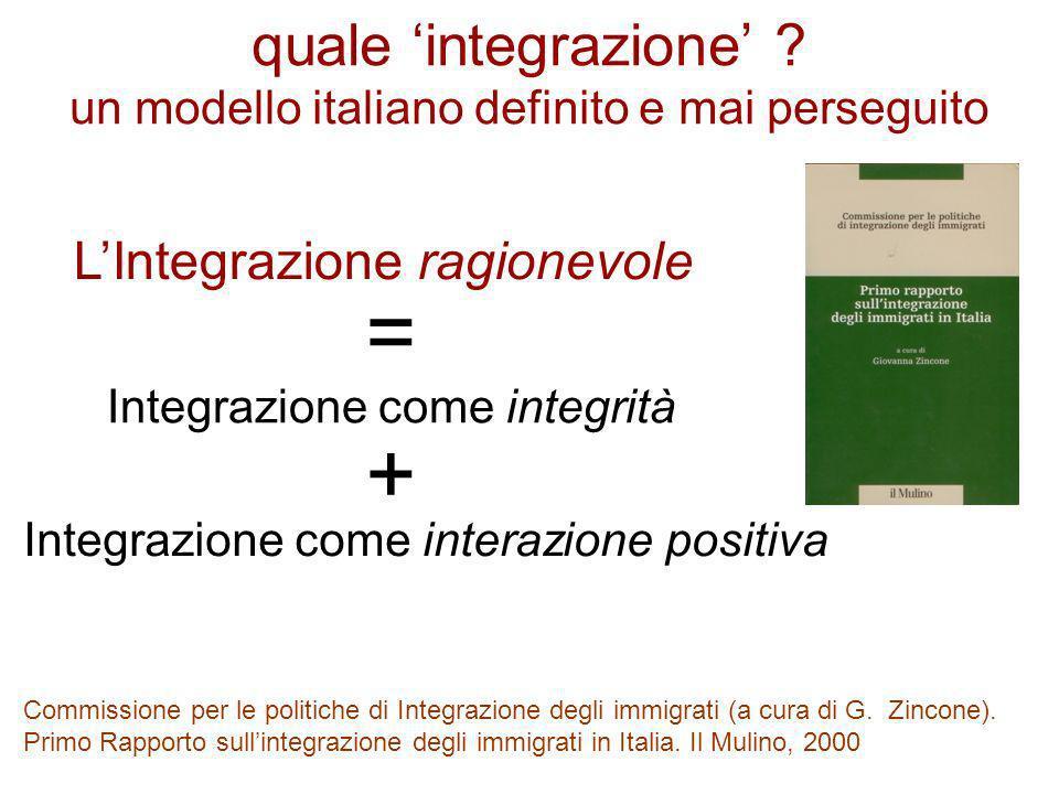 quale integrazione ? un modello italiano definito e mai perseguito Integrazione come integrità Commissione per le politiche di Integrazione degli immi