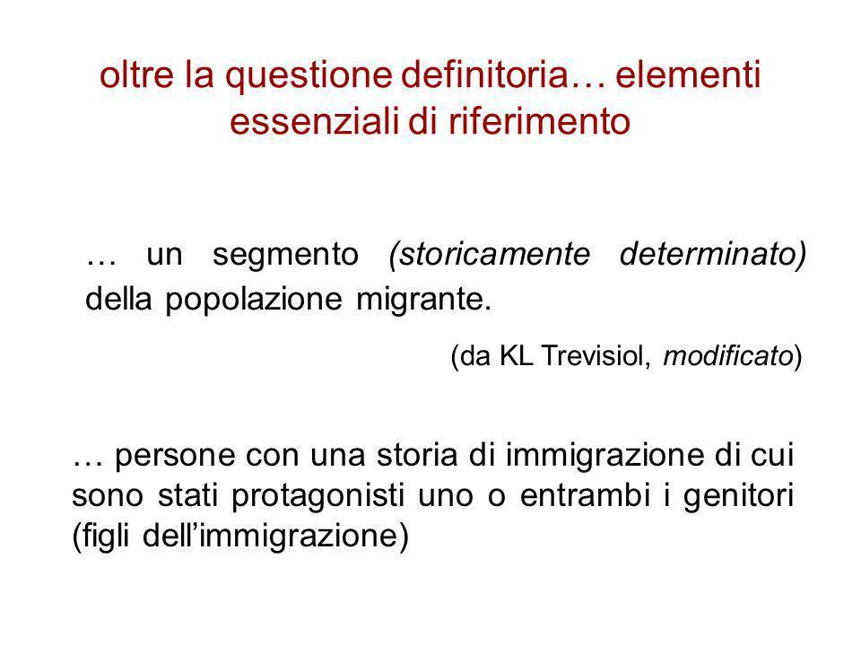 oltre la questione definitoria… elementi essenziali di riferimento … un segmento (storicamente determinato) della popolazione migrante. (da KL Trevisi
