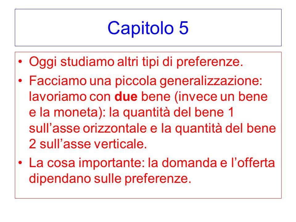 Capitolo 5 Sostituti perfetti 1:1 Una curva di indifferenza e data da: q 1 + q 2 = costante Quindi una funzione di utilita che representa le preferenze e U(q 1, q 2 ) = q 1 + q 2 Oppure U(q 1, q 2 ) = f(q 1 + q 2 ) per qualsiasi f(.)