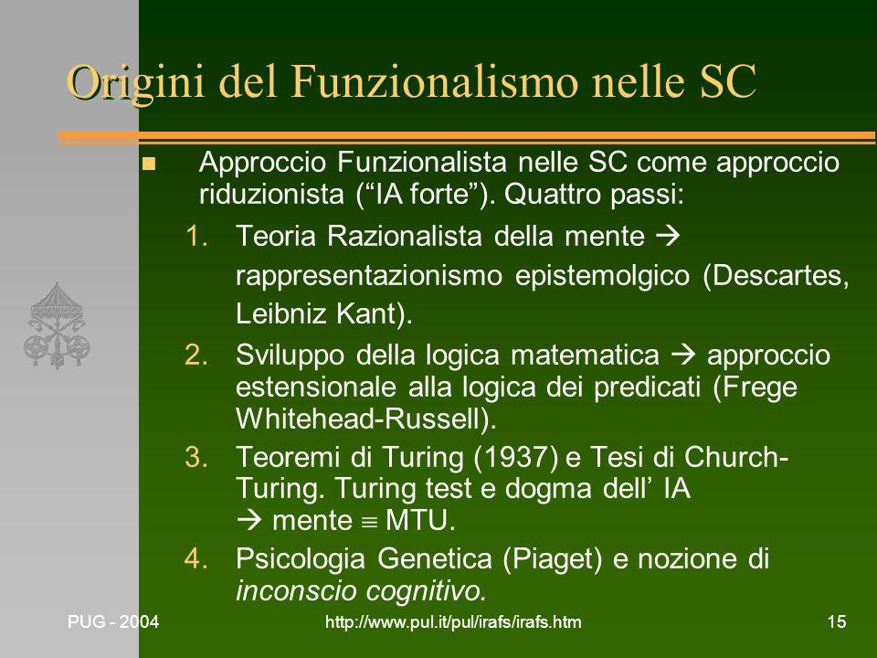 PUG - 2004http://www.pul.it/pul/irafs/irafs.htm15 Origini del Funzionalismo nelle SC n Approccio Funzionalista nelle SC come approccio riduzionista (I