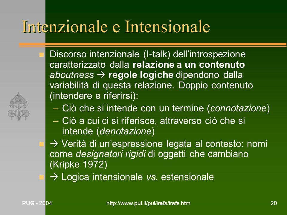 PUG - 2004http://www.pul.it/pul/irafs/irafs.htm20 Intenzionale e Intensionale n Discorso intenzionale (I-talk) dellintrospezione caratterizzato dalla