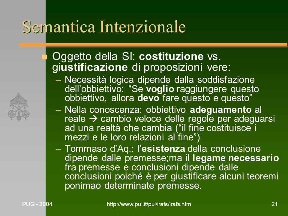 PUG - 2004http://www.pul.it/pul/irafs/irafs.htm21 Semantica Intenzionale n Oggetto della SI: costituzione vs. giustificazione di proposizioni vere: –N