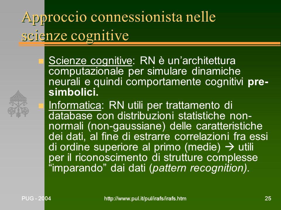 PUG - 2004http://www.pul.it/pul/irafs/irafs.htm25 Approccio connessionista nelle scienze cognitive n Scienze cognitive: RN è unarchitettura computazio