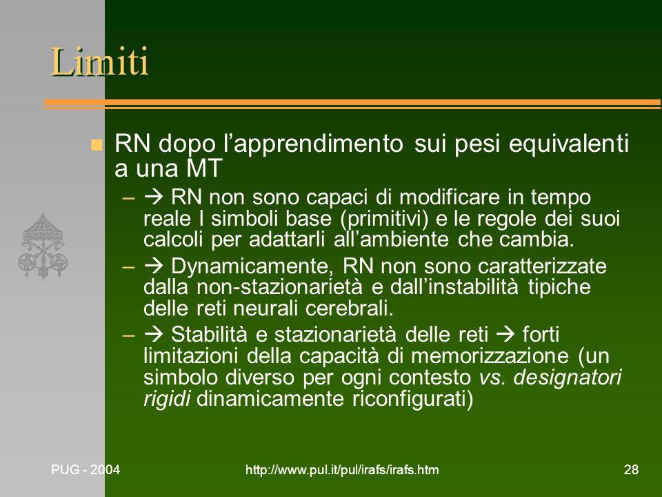 PUG - 2004http://www.pul.it/pul/irafs/irafs.htm28 Limiti n RN dopo lapprendimento sui pesi equivalenti a una MT – RN non sono capaci di modificare in