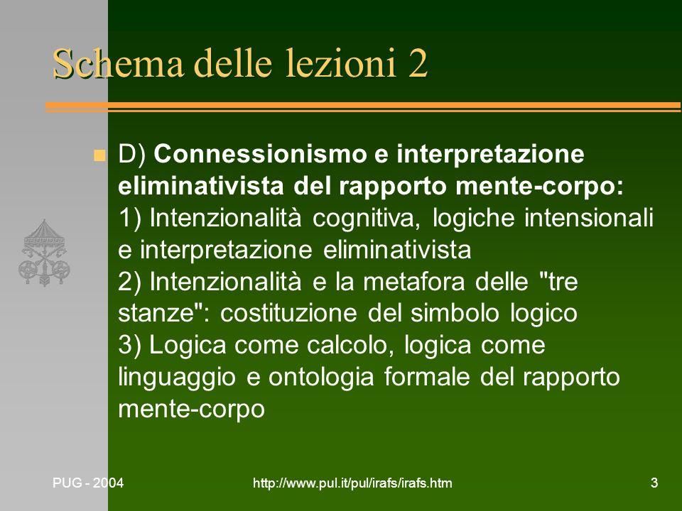 PUG - 2004http://www.pul.it/pul/irafs/irafs.htm3 Schema delle lezioni 2 n D) Connessionismo e interpretazione eliminativista del rapporto mente-corpo: