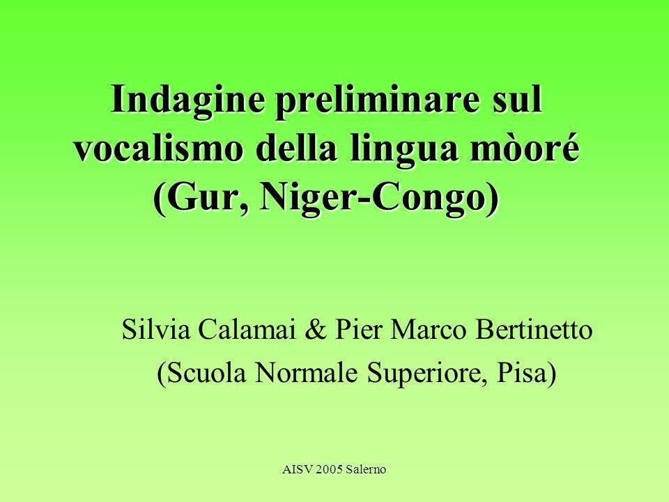 AISV 2005 Salerno Sommario Cenni sulla lingua mòoré Caratteristiche del sistema vocalico orale –Opposizioni [±ATR] Precedenti studi acustici su [±ATR] –Opposizioni di lunghezza