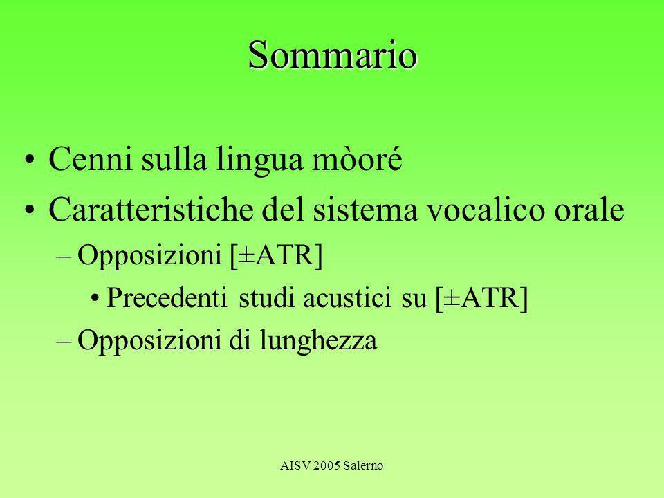 AISV 2005 Salerno H 1 seconda formante F2 [+ATR] > F2 [-ATR] F2 /i/ > F2 s.