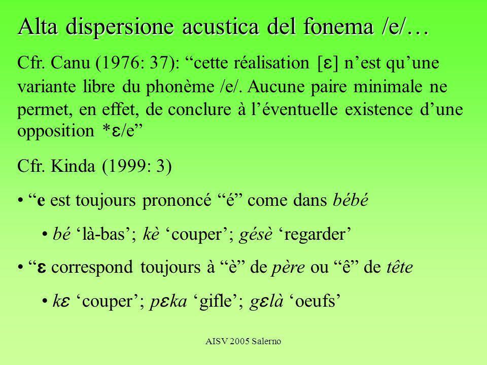 AISV 2005 Salerno Alta dispersione acustica del fonema /e/… Cfr.