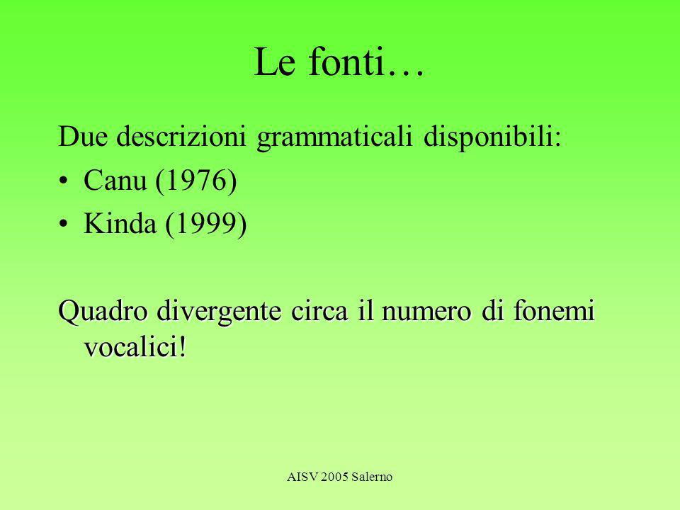 AISV 2005 Salerno Il sistema vocalico Canu (1976): /i e a o u/ Kabore (1994) come Canu (1976) –ma 10 possibili realizzazioni fonetiche: [i e a ( ) o u] Kinda (1999): /i e a o u/ Ciascun fonema vocalico può essere –Breve –Lungo –Orale –Nasale –Di tono alto / basso / (medio)