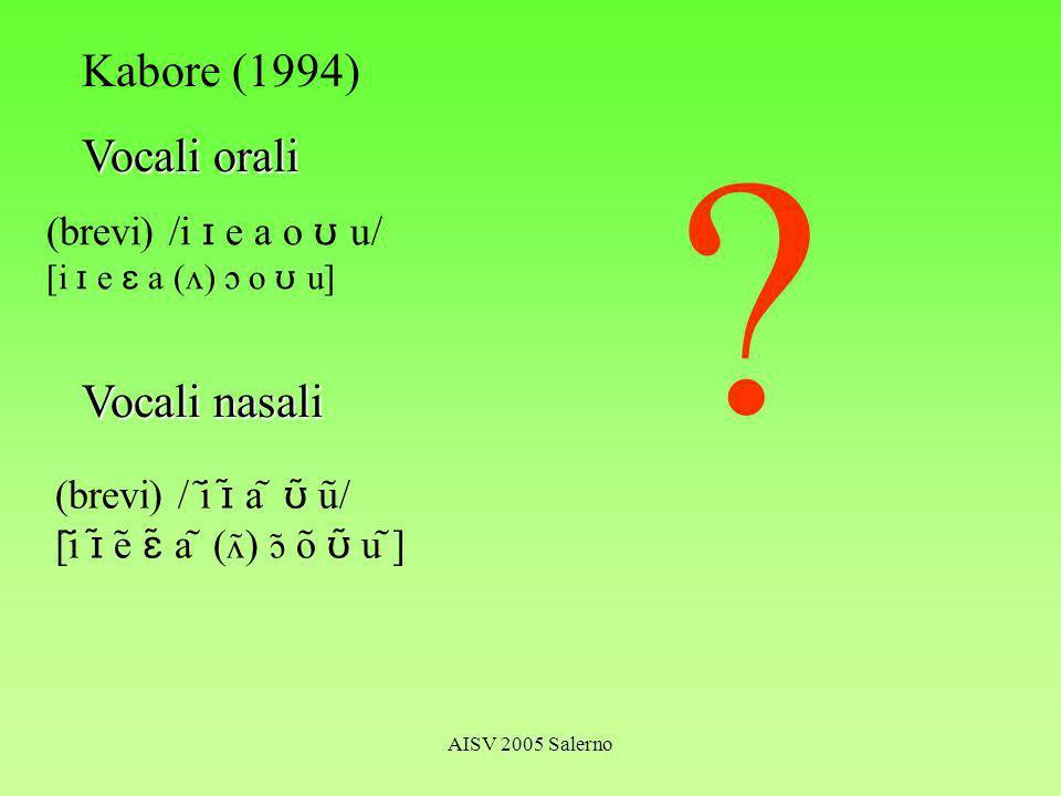 AISV 2005 Salerno Kabore (1994) Vocali orali (brevi) /i e a o u/ [i e a ( ) o u] Vocali nasali (brevi) / i a u / [i e a ( ) o u ]