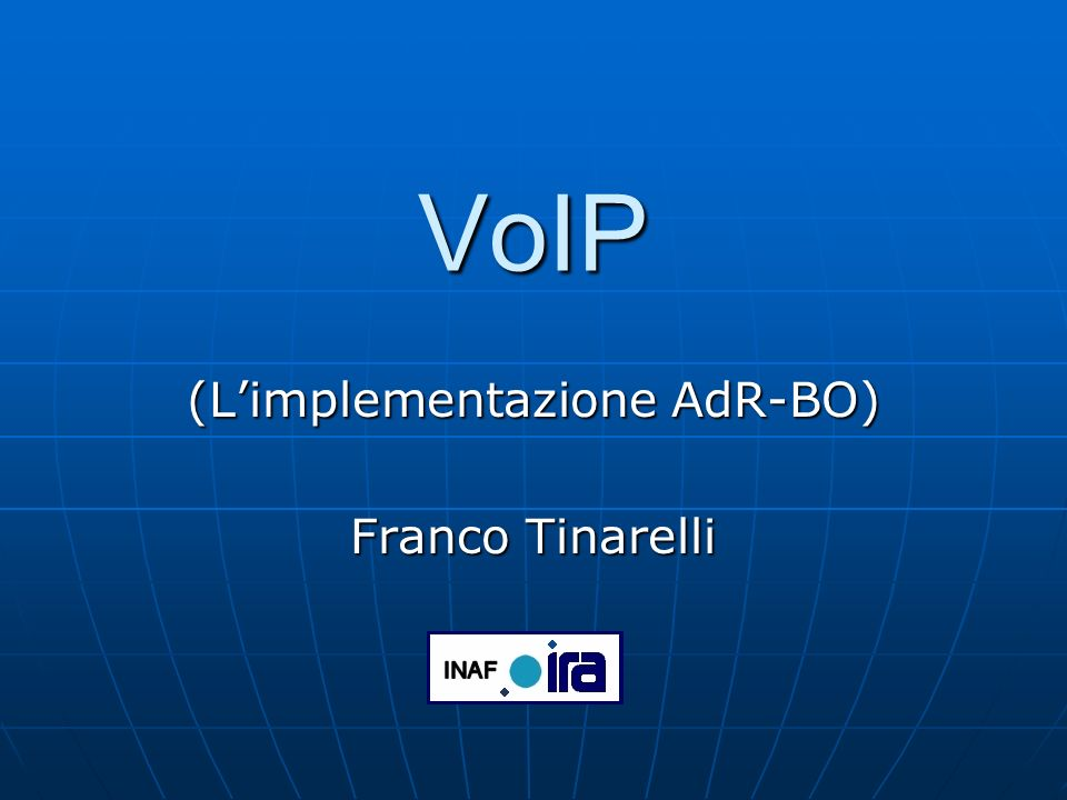 Franco Tinarelli 5 dicembre 2006 12 Voice over IP: GDS GDS è lacronimo di Global Dialling Scheme, è stato creato da ViDeNet (http://www.vide.net) come nuovo sistema di numerazione per il video e la voce, in standard H.323, su reti IPhttp://www.vide.net Ogni numero è definito da quattro parti: International Access Code (IAC) è anche definito come World gatekeeper prefix ed è il numero 00 Country Code (CC) segue le regole ITU sui prefissi nazionali, il codice per lItalia è 39 Organisational Prefix (OP) è la parte più creativa, molte organizzazioni hanno seguito la numerazione nazionale, accostando al prefisso provinciale il numero passante 051639, altre hanno preferito definire numerazioni alternative.