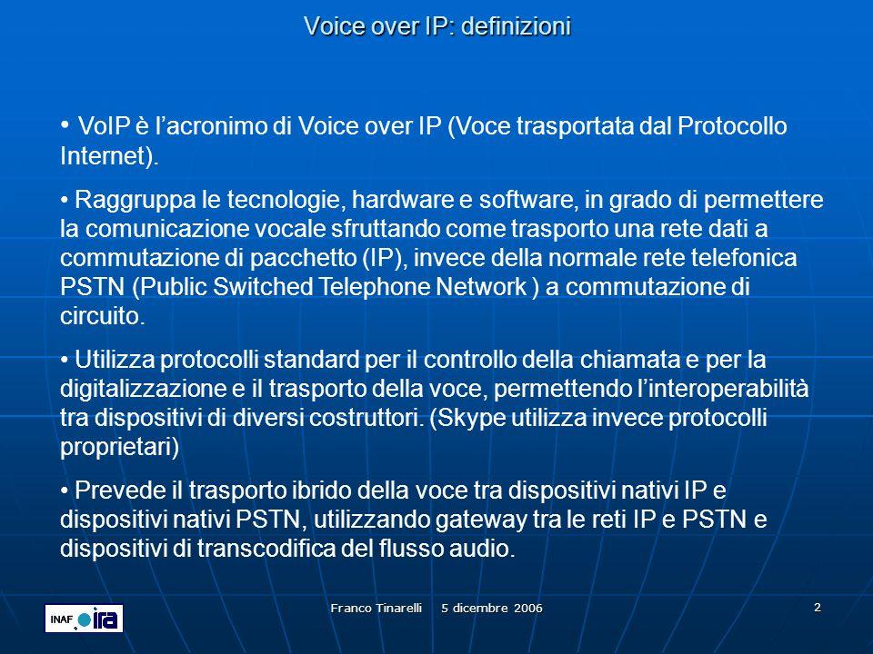 Franco Tinarelli 5 dicembre 2006 13 Voice over IP: GDS Endpoint Number (EN) è il numero assegnato al dispositivo finale, sovente una video conferenza ospitata su di una MCU, non deve superare le 7 cifre e deve essere unico allinterno dellorganizzazione.