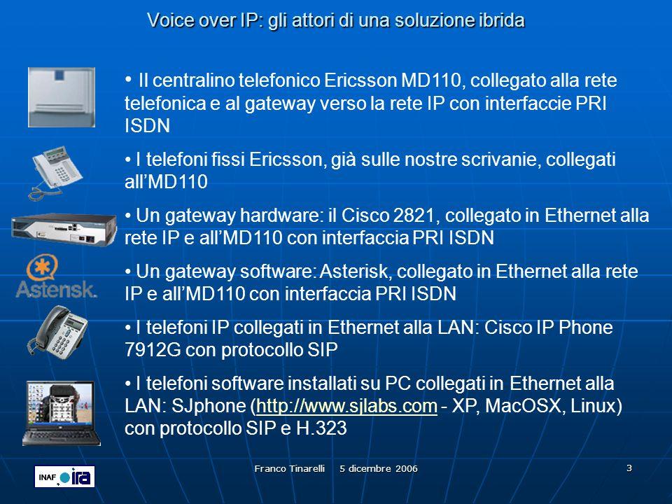 Franco Tinarelli 5 dicembre 2006 4 Voice over IP: protocolli RTP è lacronimo di Real-Time Transport Protocol, è uno standard IETF ( Internet Engineering Task Force ) pubblicato con RFC 3550.