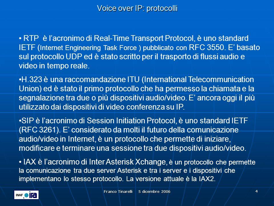 Franco Tinarelli 5 dicembre 2006 15 Voice over IP: gatekeeper Il Gatekeeper è un programma in grado di associare ad un indirizzo di rete, uno o più identificativi alfanumerici (aliases) di un terminale H.323 audio/video che vi si registra.