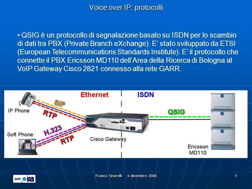 Franco Tinarelli 5 dicembre 2006 6 Voice over IP: codec G.711 è uno standard ITU per la digitalizzazione della voce.