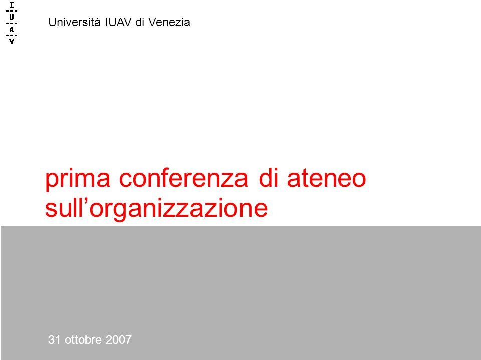 prima conferenza di ateneo sullorganizzazione Università IUAV di Venezia 31 ottobre 2007