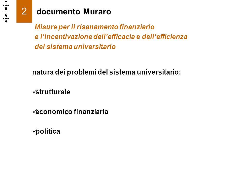 2 natura dei problemi del sistema universitario: strutturale economico finanziaria politica documento Muraro Misure per il risanamento finanziario e lincentivazione dellefficacia e dellefficienza del sistema universitario