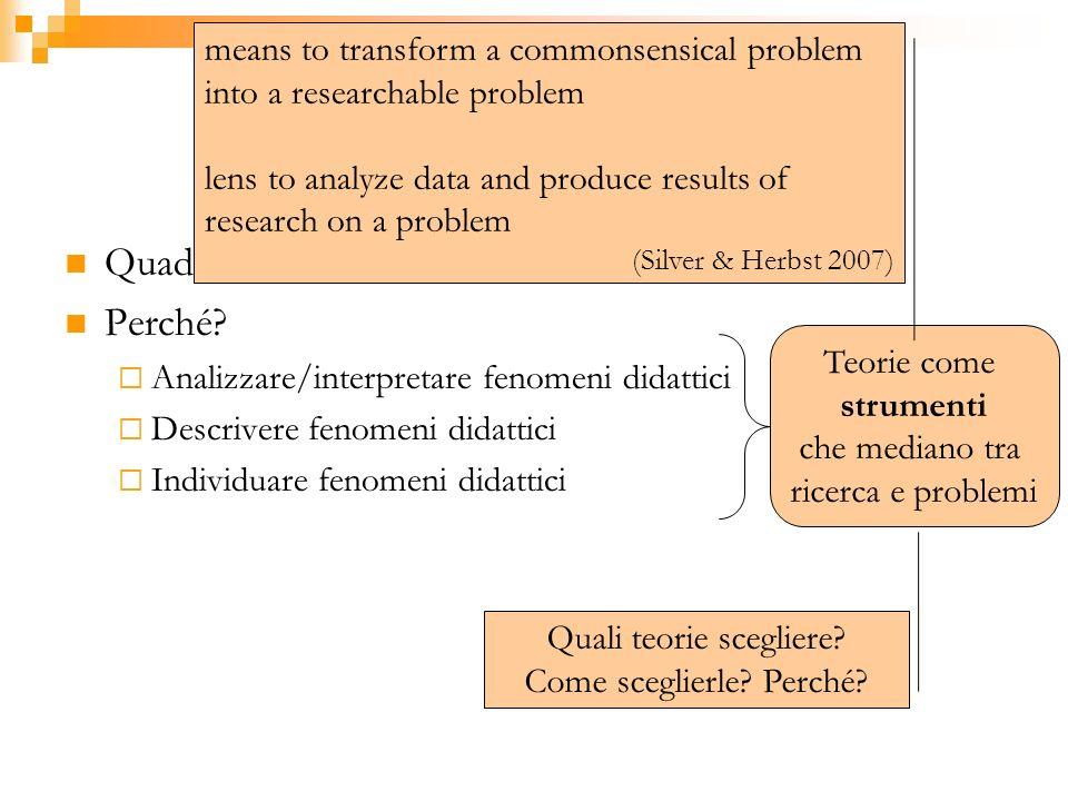Focus 2: quadri teorici Quadro concettuale di riferimento? Perché? Analizzare/interpretare fenomeni didattici Descrivere fenomeni didattici Individuar