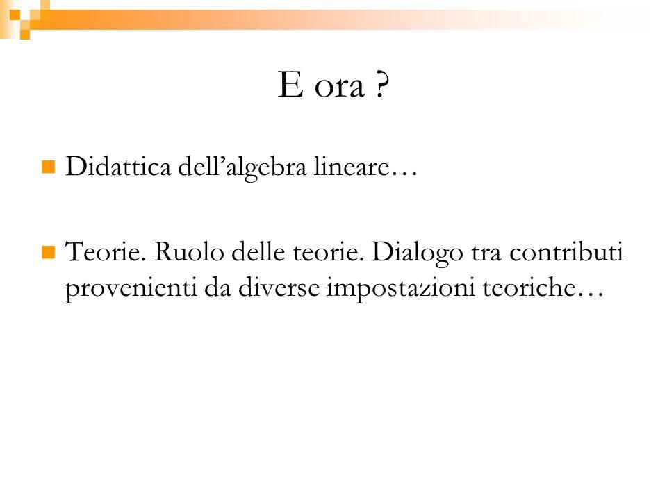 E ora ? Didattica dellalgebra lineare… Teorie. Ruolo delle teorie. Dialogo tra contributi provenienti da diverse impostazioni teoriche…