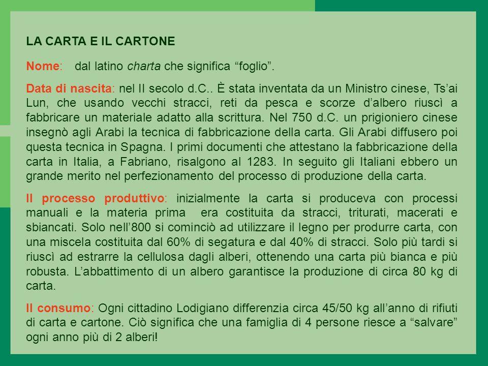 LA CARTA E IL CARTONE Nome:dal latino charta che significa foglio.