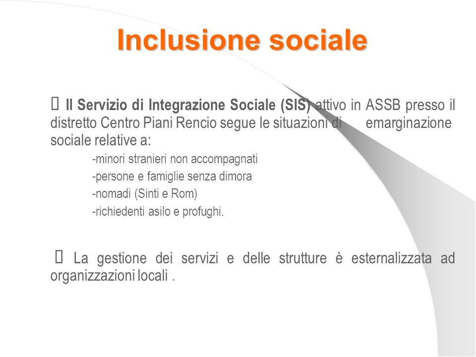 Inclusione sociale Il Servizio di Integrazione Sociale (SIS) attivo in ASSB presso il distretto Centro Piani Rencio segue le situazioni di emarginazio