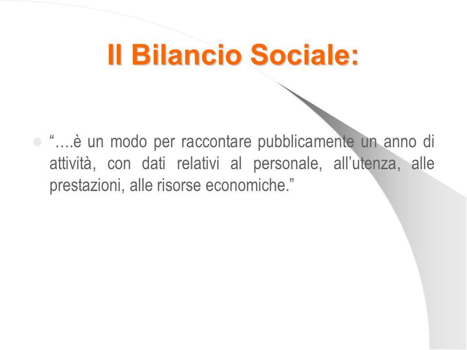 Il Bilancio Sociale: ….è un modo per raccontare pubblicamente un anno di attività, con dati relativi al personale, allutenza, alle prestazioni, alle r