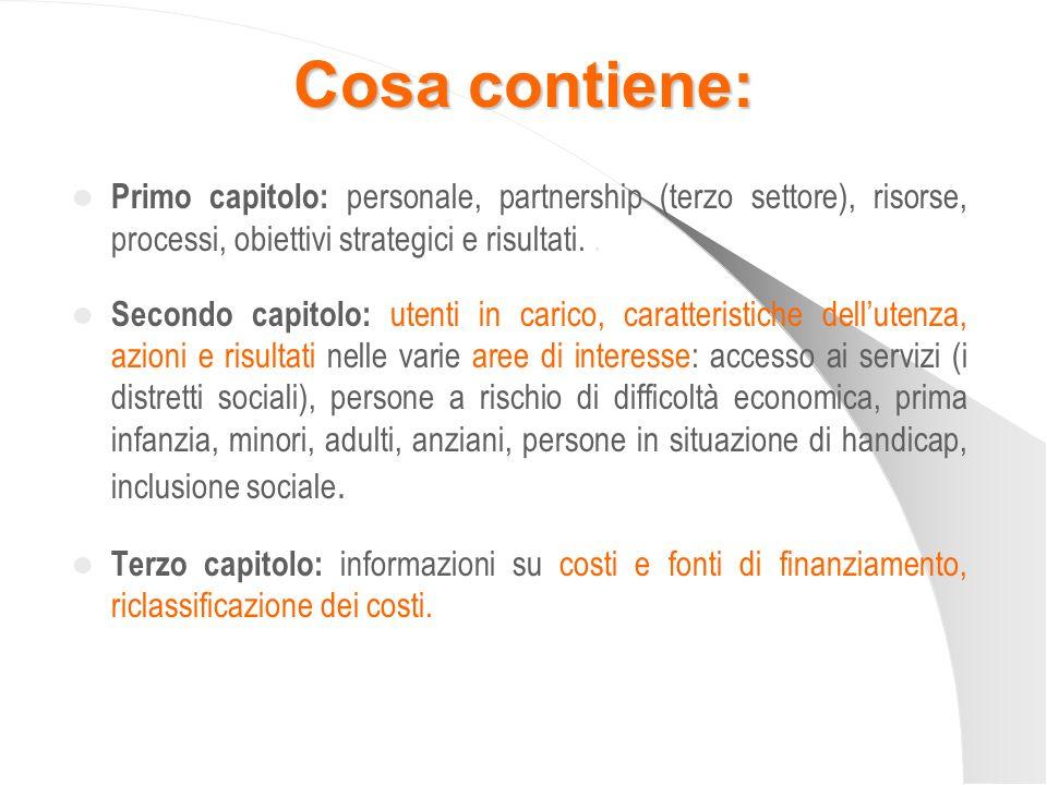 Cosa contiene: Primo capitolo: personale, partnership (terzo settore), risorse, processi, obiettivi strategici e risultati.. Secondo capitolo: utenti