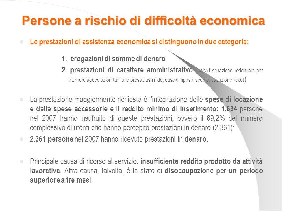 Le prestazioni di assistenza economica si distinguono in due categorie: 1. erogazioni di somme di denaro 2. prestazioni di carattere amministrativo (c