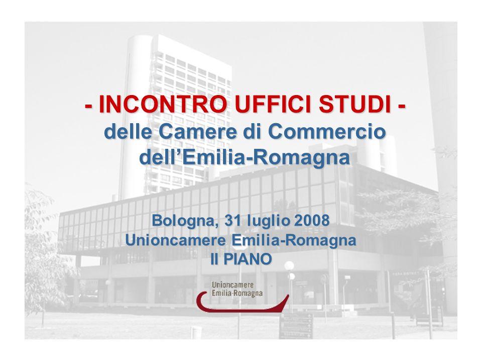 Bologna, 31 luglio 2008 Unioncamere Emilia-Romagna II PIANO - INCONTRO UFFICI STUDI - delle Camere di Commercio dellEmilia-Romagna