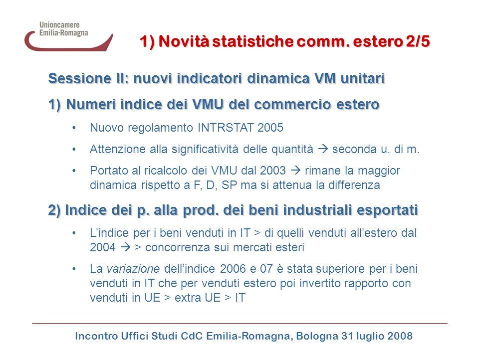 Incontro Uffici Studi CdC Emilia-Romagna, Bologna 31 luglio 2008 1) Novità statistiche comm. estero 2/5 Sessione II: nuovi indicatori dinamica VM unit